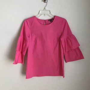 New J Crew Mercantile Pink Ruffle Sleeve Blouse